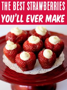 Strawberry Desserts with Cream Cheese Easy Recipes!  These 4-Ingredient Cheesecake stuffed strawberries are SO simple to make, and outrageously delicious!  They're just what your party needs!  Go grab the recipe and give them a try! Easy Strawberry Desserts, Easy Summer Desserts, Easy Desserts, Delicious Desserts, Desserts With Strawberries, Cheesecake Filled Strawberries, Strawberry Cheesecake Bites, Fruit Recipes, Dessert Recipes