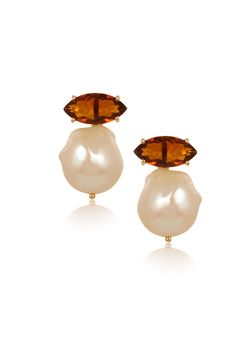 Marquise Madeira Citrine & Baroque Pearl Earrings - www.annaruthhenriques.com