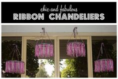 Make your own #chandelier using just #ribbon and hot glue! #diy