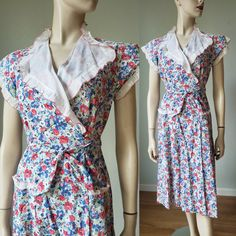 1940s Cotton Floral Wrap Day Dress / 1940s Dress / 40s Daywear / 40s Cotton Dress / 40s Summer Dress / Small Vintage Summer Dresses, 1940s Dresses, Day Dresses, 50s Clothing, 50s Outfits, Art Deco Dress, Cute Patches, Warm Weather, Cap Sleeves