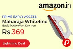 Amazon #LightningDeal brings PRIME EARLY ACCESS and offering 47% off on Maharaja Whiteline Easio 1000-Watt Dry Iron just at Rs.369. Powerful crease removal, Button groove, Non-stick coating Sole Plate, Adjustable thermostat for temperature control, ISI marked, 2 years on product Warranty, 1000 watts Power.  http://www.paisebachaoindia.com/maharaja-whiteline-easio-1000-watt-dry-iron-just-at-rs-369-amazon/