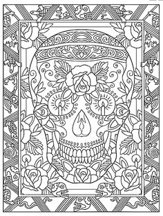 Creative Haven Day Of The Dead Coloring Book, Dover Publications Sample Page