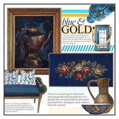"""""""Blue and Gold vintage decor"""" by budding-designer ❤ liked on Polyvore featuring interior, interiors, interior design, home, home decor, interior decorating, Bitossi, Jonathan Adler and vintage"""