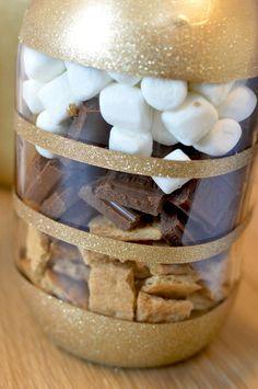 filled smores bar jar