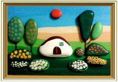 Paesaggio Naif Primaverile -Painted Stones di Rosaria Gagliardi