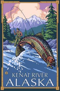 Fly Fishing Scene, Kenai River, Alaska Stretched Canvas Print at Art.com