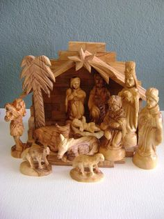 Vintage Creche Nativity Set Made in Israel Wood Christmas Jerusalem. Handcrafted - gorgeous!!!