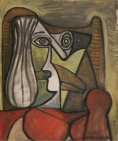 Pablo Picasso, Buste de femme dans un fauteuil, 1949. Home goods,  Clothing Fashions, Family Products http://www.islandheat.com for Great Gift Idea's by Island Heat Products.
