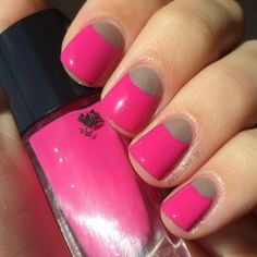 Pink half moon nails - @ kim_ber_ly_