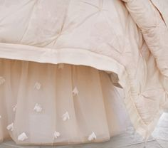Monique Lhuillier Blush Pink Ethereal Bed Skirt   Pottery Barn Kids
