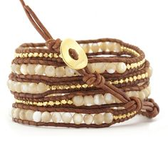 Natural Mother of Pearl Wrap Bracelet with Gold Nuggets on Natural Brown Leather - Chan Luu