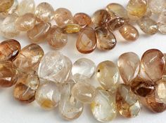 Imperial Topaz Plain Pear Beads Golden Champagne by gemsforjewels