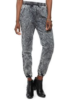 Rainbow Shops Dark Acid Wash Jogger Pants $19.99