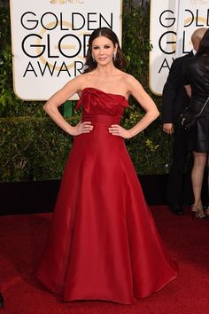Catherine Zeta-Jones loving this rose-like dress and the evening's red-trend...