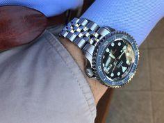 Seiko 007 Rolex Bezel blue vintage