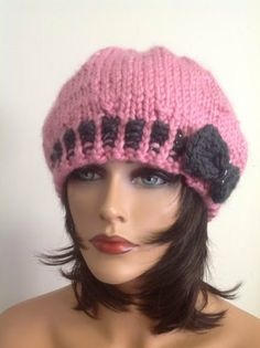 Hand Knit Hat Beanie Beret Cap Chunky Pink by HANDKNITS2LOVE, $39.00