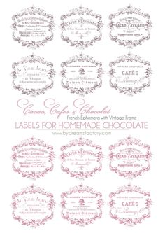 Cacao, Cafes & Chocolat French ephemera with vintage frame LABELS FOR HOMEMADE CHOCOLATE