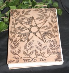 Stunning Wiccan Book of Shadows with Fairy Star, Rowan Leaves and Berries.
