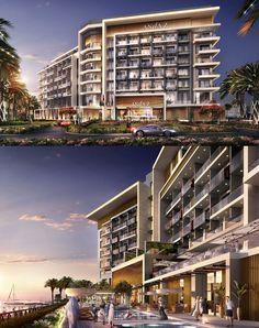 Andaz Dubai La Mer open in 2020 Hotel Design Architecture, Residential Building Design, Home Building Design, Residential Complex, Commercial Architecture, Building Facade, Building Exterior, Modern Mansion Interior, Scottsdale Resorts