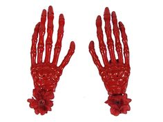 Hairy Scary Red Skeleton Halloween Hades Hands w Red Hair Clip Set [HS05RedwRed] - $12.00 : Mystic Crypt, the most unique, hard to find items at ghoulishly great prices!