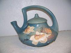 Roseville Magnolia Matte Blue Tea Pot Art Pottery Large Size Flowers Clean | eBay