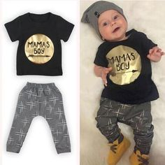 Hot Sale 2017 Winter Summer Kit Newborn Baby Girl Boy Clothes T shirt +Long Pants Mamas Boy Outfits For Clothes For Outfits Niños, Toddler Outfits, Baby Boy Outfits, Kids Outfits, Newborn Outfits, Stylish Outfits, Kids Clothes Boys, Baby & Toddler Clothing, Cute Baby Clothes
