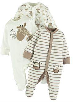 Unisex 3 Pack Giraffe Print Sleepsuits (Tiny Baby-18mths)
