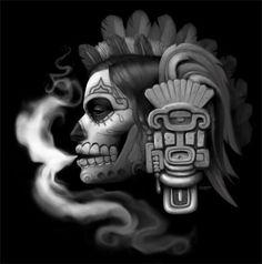 CALAVERA DE AZÚCAR FUMANDO Sugar MOMMY skull Mayan Tattoos, Aztec Tattoo Designs, Mexican Tattoo, Gangsta Tattoos, Aztec Culture, Chicano Art, Chicano Drawings, Lowrider Art, Aztec Warrior