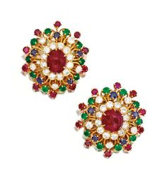 A Pair of 18 Karat Gold, Colored Stone and Diamond Earclips, Van Cleef & Arpels, New York, 1968