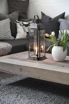 Simple candle holder as a center point of the natural wooden coffee table. sofa grey with white cushions Living Room Designs, Living Room Decor, Living Spaces, Room Inspiration, Interior Inspiration, Sweet Home, Home And Living, Family Room, Lounge