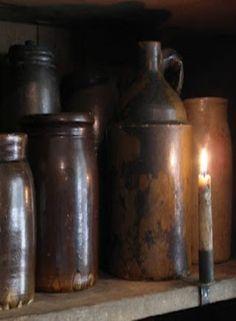 Canning Jars and Crocks Antique Crocks, Old Crocks, Antique Stoneware, Stoneware Crocks, Prim Decor, Primitive Decor, Primitive Country, Primitive Candles, Ideas