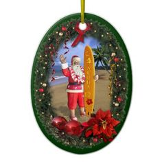 Hawaiian Santa Christmas Tree Ornament