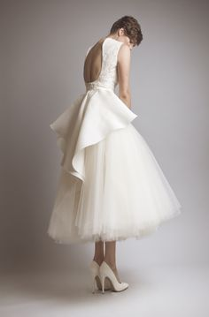 Backless Applique Wedding Dress Ruffled Tea Length Formal A-Line Bridal Gown
