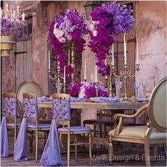 Shades of purple, 50 shades, purple wedding, wedding flowers, gold wedd Wedding Chairs, Wedding Reception Decorations, Wedding Centerpieces, Wedding Table, Decor Wedding, Purple Wedding, Wedding Flowers, Dream Wedding, Bouquet Wedding