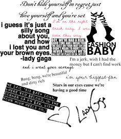 """Lady Gaga Lyrics 3"" by caitlinh127 ❤ liked on Polyvore"