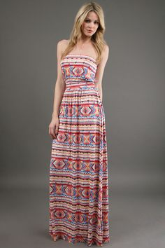 Southwest strapless Maxi Dress
