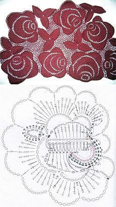 lovely irish crochet rose motif - oops - the chart doesn't match the pic - see other pin for link to correct chart Irish Crochet Flower (chart + tutorial) by tonya. It's not in English, but I onl Freeform Crochet, Crochet Diagram, Crochet Motif, Crochet Doilies, Crochet Lace, Crochet Stitches, Irish Crochet Charts, Crochet Puff Flower, Crochet Flower Patterns