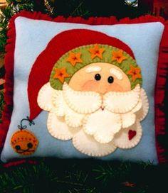 Christmas Santa Pillow/almofada noel feltro
