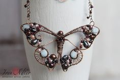 Butterfly mosaic pendant, copper necklace with multicolor freshwater pearls and aquamarine, wire wraped butterfly, summer trend pendant
