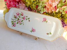 Beautiful Limoges Porcelain Tray ~ Pink Flowers ~ Floral ~ Gold #Limoges