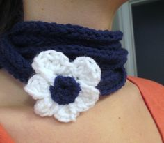Crochet I cord infinity scarf necklace.