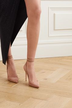 Heel measures approximately 4 inches Taupe suede (Goat) Ties at ankle Made in ItalySmall to size. Nude Shoes, Nude Pumps, High Heel Pumps, Ballet Shoes, Dance Shoes, Pumps Heels, Alexandre Vauthier, Jennifer Fisher, Balenciaga