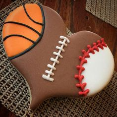 For the all-around athlete and sports fan.basketball, baseball, and football decorated heart cookies for Valentine's Day. Fancy Cookies, Heart Cookies, Iced Cookies, Cut Out Cookies, Cute Cookies, Cupcake Cookies, Basketball Cookies, Football Cookies, Valentines Day Cookies