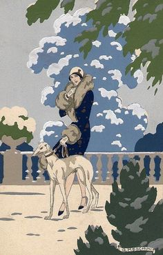 Giovanni Meschini (1888-1977) - Lady with greyhound