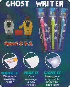 TY-PEN Ghost Writer Invisible Ink Pen with Built in Black Light. Inexpensive stocking stuffers and gifts to students or at a birthday party.