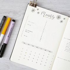 Monthly bullet journal layout, bullet journal how to start a, bullet journal hacks,