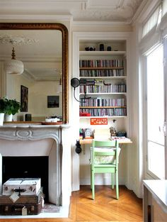 Love The Closet Bookshelf Desk And Mirror Over Fireplace Tiny Office Nook