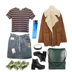 A fashion look from May 2014 featuring mini skirts, black boots and leather handbags. Browse and shop related looks. Grunge Fashion, 90s Fashion, Fashion Outfits, School Looks, Winter Outfits, Cool Outfits, Casual Outfits, Facon, Mode Style