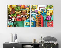 Original Pop Art Painting For Living Room Decor, Horizontal Wall Art , Extra Large Original Painting, Colorful Wall Art For Office Graffiti Styles, Graffiti Art, Your Paintings, Original Paintings, Horizontal Wall Art, Office Artwork, Beach Artwork, Colorful Wall Art, Extra Large Wall Art
