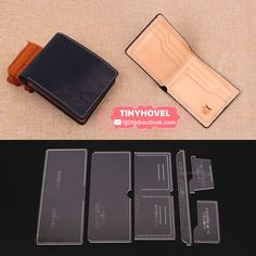 Leather Card clip / Wallet / Purse Acrylic Template - 1 size for choose, Leathercraft Pattern Diy Abschnitt, Wallet With Coin Pocket, Clip Wallet, Purse Wallet, Coin Purse, Leather Tooling, Leather Men, Leather Bag Pattern, Tote Pattern, Pattern Sewing